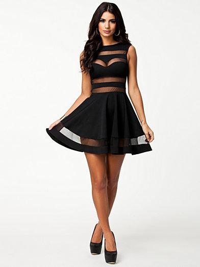 Mesh Insert Skater Dress - Club L - Black - Party Dresses - Clothing - Women - Nelly.com Uk