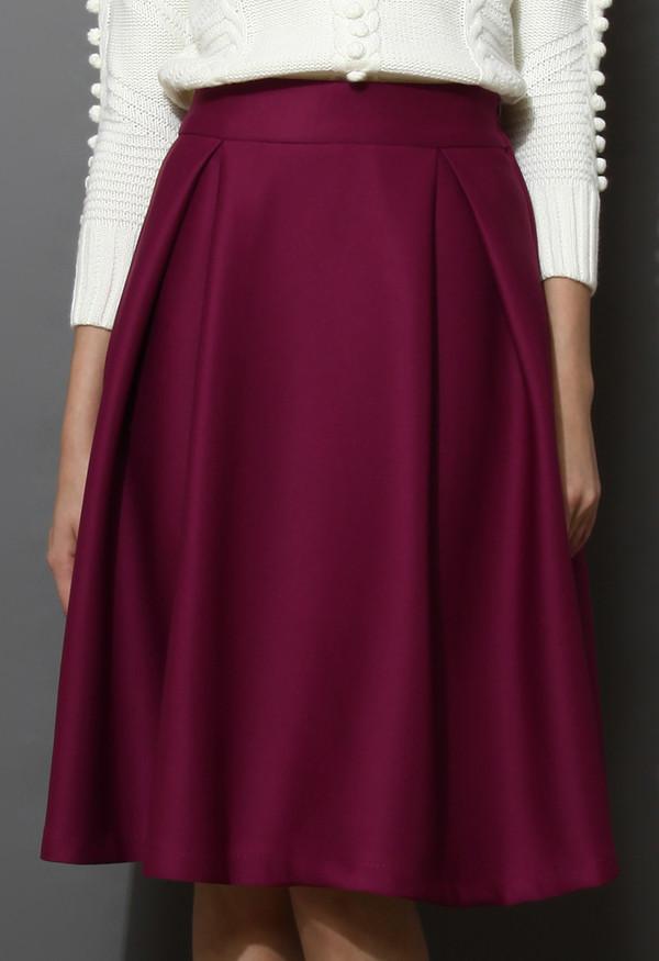 skirt full a-line midi violet