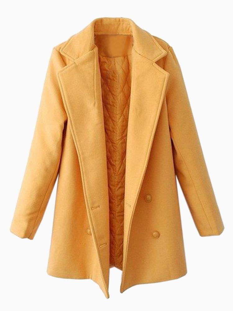 Double-breasted Padded Wool Coat In Yellow | Choies