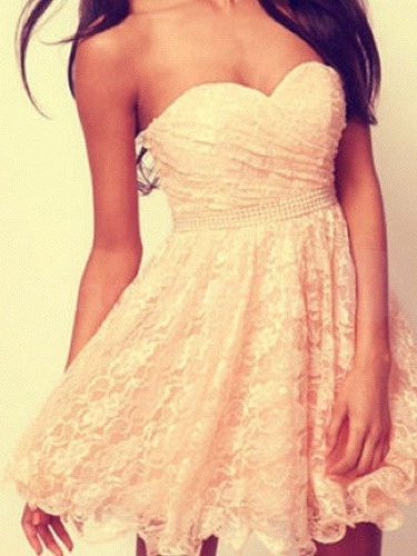Attractive Cream A-line Sweetheart Mini Lace Prom Dress-SinoSpecial.com