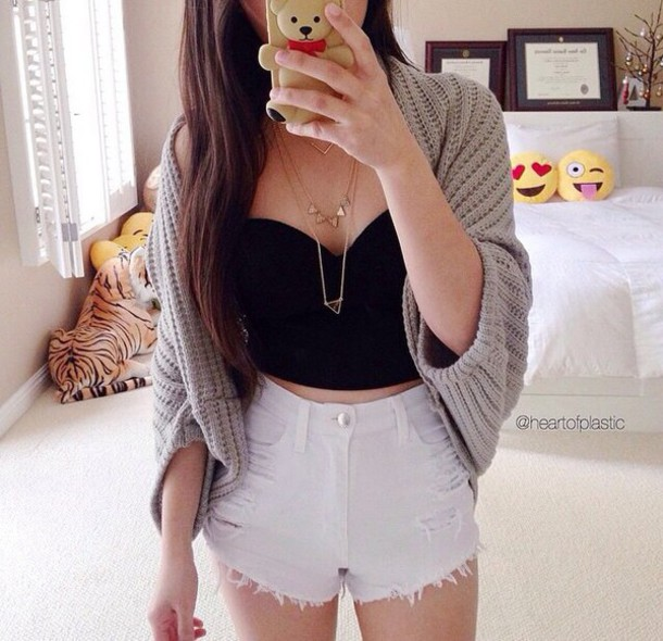 cardigan cardigan grey and necklace shorts top jewels phone cover