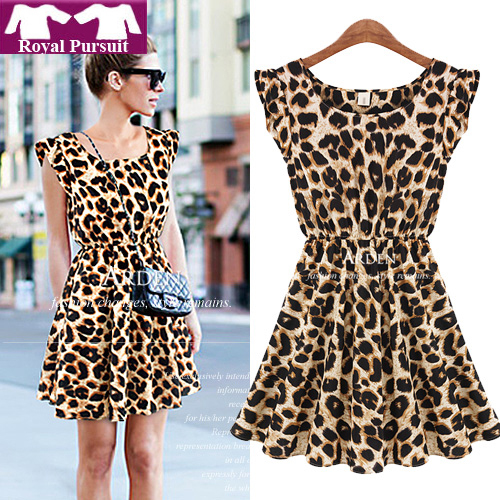 Women Casual Leopard Print Dress Microfiber Summer Dresses 12054-in Dresses from Apparel & Accessories on Aliexpress.com