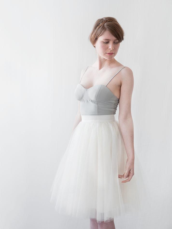 """Gretta Tulle Skirt - Ivory - 24"""" Length — Alexandra Grecco"""