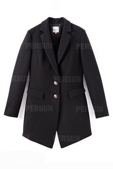 Lapel Handsome Coat with Pockets in Black [FEBK0603] - PersunMall.com