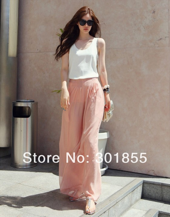 Women's Casual Long Wide Leg Pants Chiffon Skirt Pants Fashion Skorts culottes Harem Pants Loose High Elastic Waist Trousers -in Pants & Capris from Apparel & Accessories on Aliexpress.com