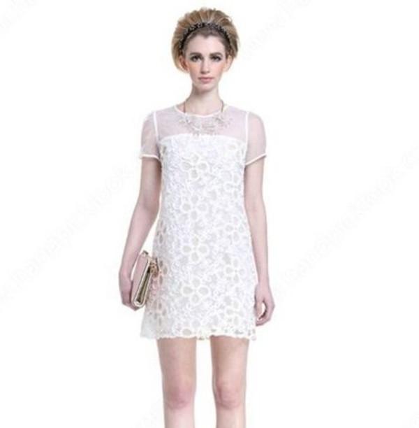 dress white dress white lace dress lace dress little white dress short sleeve dress short dress summer dress back zip dress