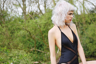underwear bodysuit body outfit cut-out black underwear lingerie black lingerie fashion style clothes sexy photography model swimwear top shirt mesh recklesswolf cute wolfpack knickers pants panties backless