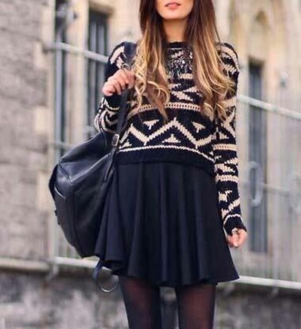sweater black and white skirt