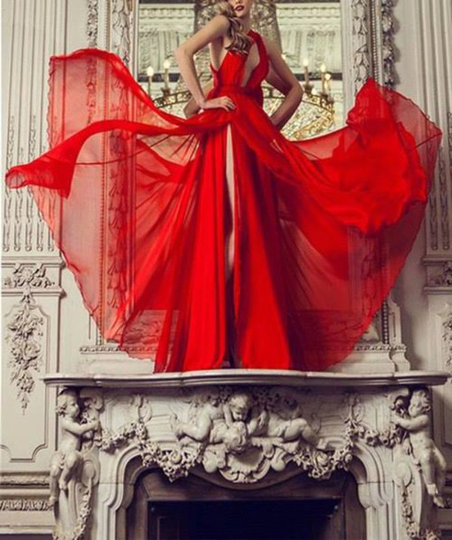 dress red dress long dress gown red maxi dress red gown
