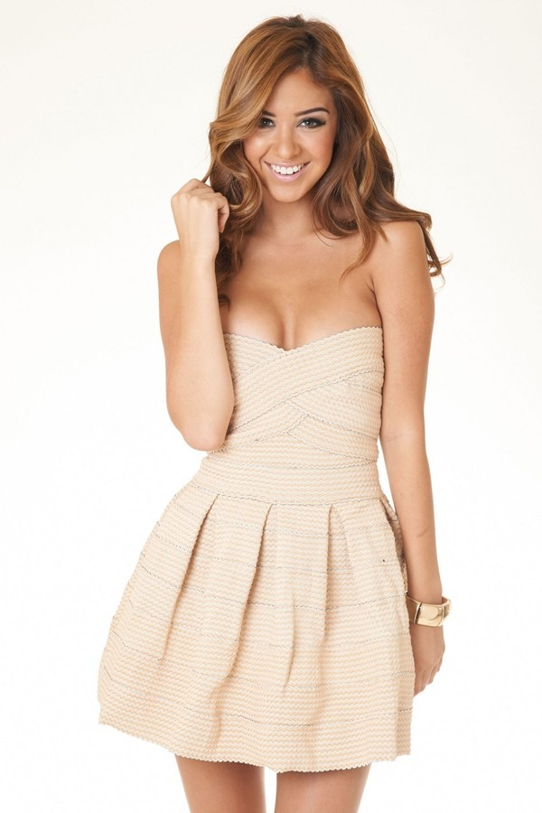 dress strapless dress short dress beige dress
