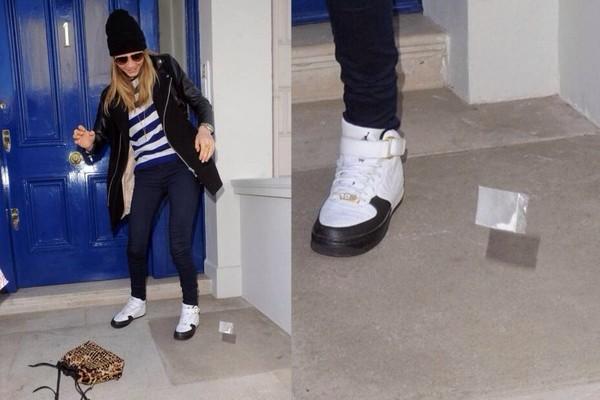 shoes celebrity cara delevingne jordan air jordan black white black and white trainers sneakers model fashion nike nike air air jordan bag