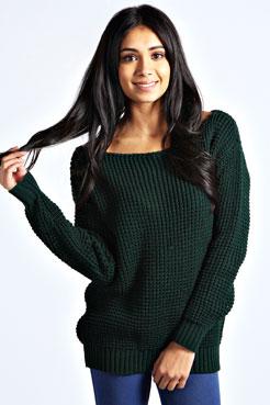 Tanya  Slash Neck Waffle  Knit Jumper at boohoo.com