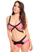 Modajay Women's Clothing - Young Aloud TWO PIECE COLOR-BLOCK SWIMSUITS