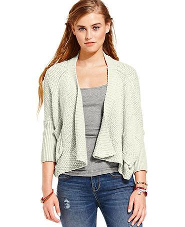 American Rag Sweater, Three-Quarter Sleeve Draped - Juniors Sweaters - Macy's