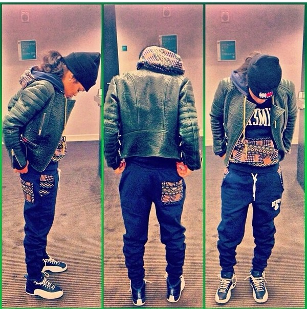 pants navy tribal pattern aztec harem pants teyana taylor dress dope jacket jordans