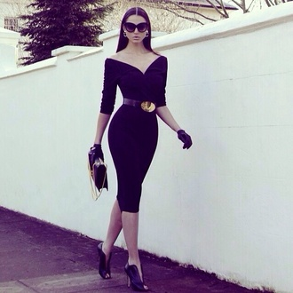dress shoes bandage dress sunglasses belt little black dress black dress sexy midi midi dress black celebrity style clothes chicityfashion pin up pencil skirt pencil dress jackie kennedy inspired gorgeous stilettos
