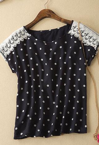 littledaisy | Polka Dots Crochet Lace Black Short Sleeve T Shirt  | Online Store Powered by Storenvy
