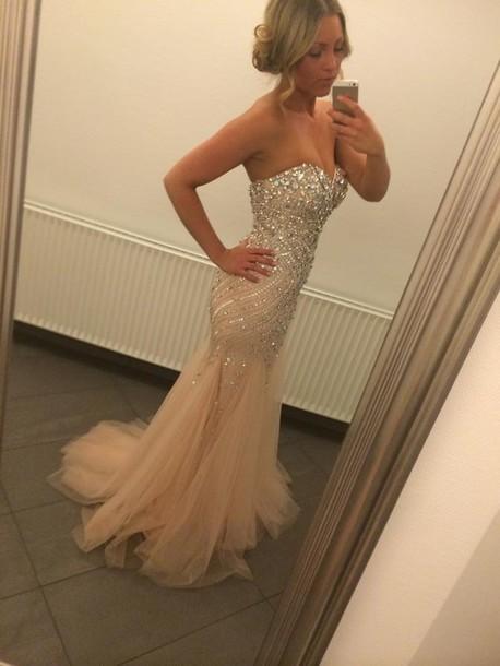 dress nude champagne dress prom dress corset dress mermaid prom dress long prom dress crystal beaded prom dresses nude dress