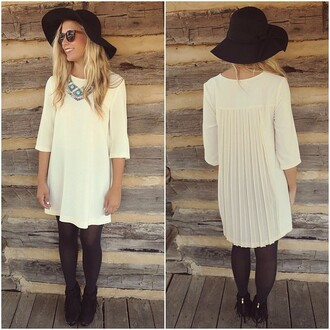 dress amazing lace cream shift dress fall outfits ootd pleated chiffon zipper detail details chic classy day to night dress up