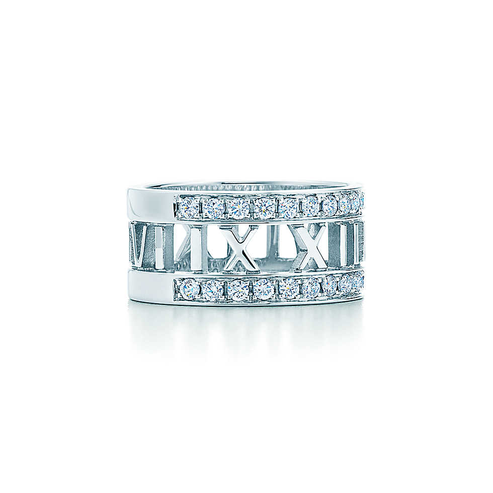 Atlas® open ring in 18k white gold with diamonds, wide.                       |         Tiffany & Co.