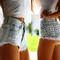 Dangers pale frayed studded shorts   runwaydreamz