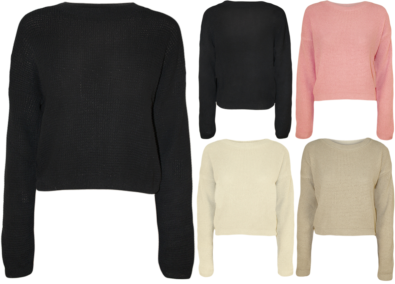New Womens Knitted Crop Fisherman Jumper Ladies Long Sleeve Short Net Top 8 - 14 | eBay