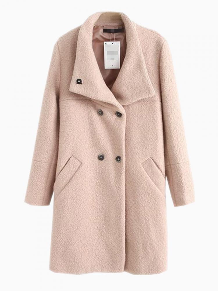 Oversize Longline Coat In Beige | Choies