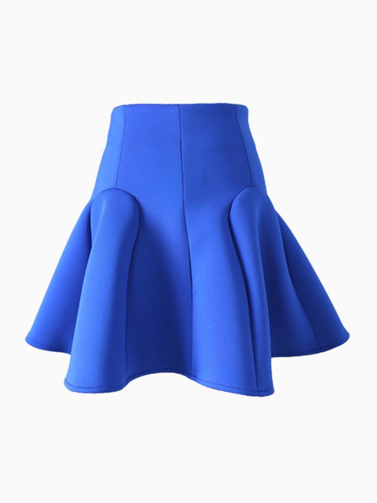 Blue Textured Flare Skirt | Choies