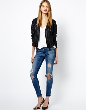 French Connection   French Connection Albany Biker Jacket in PU at ASOS