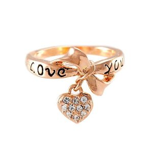 Amazon.com: Magic Collection 18k Yellow/White Gold Plated Bowknot & CZ Heart Charm Ring Engraved with Love you: Jewelry