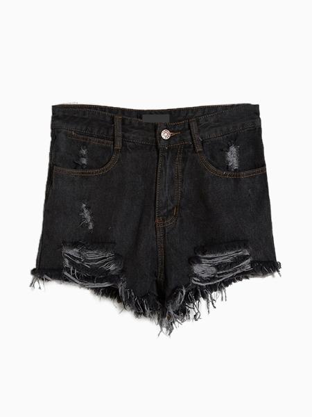 Black Denim Shorts With Cut Out   Choies
