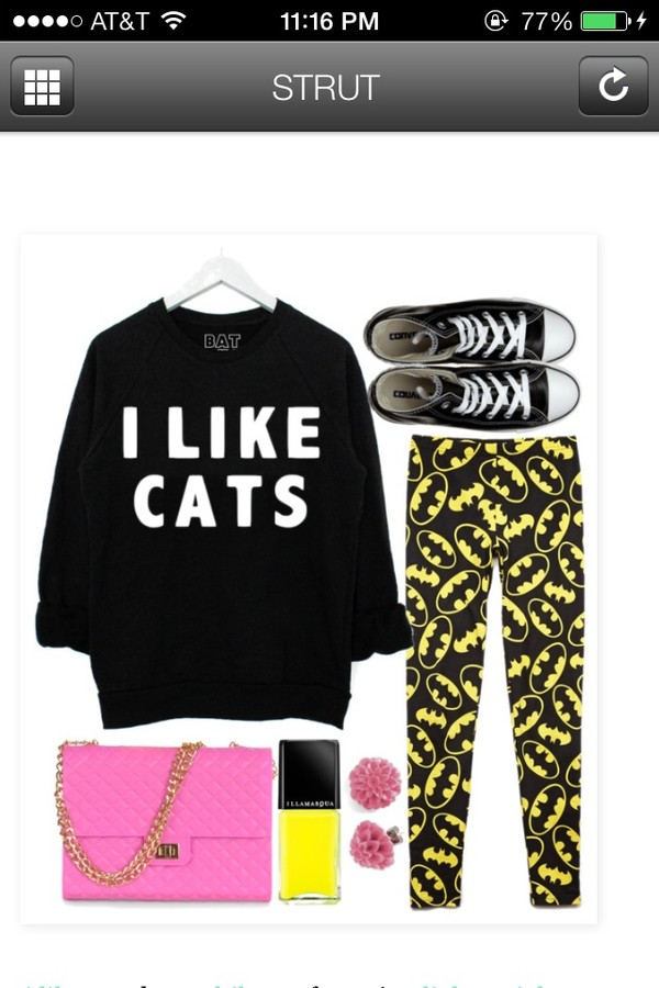 sweater black cats cats sweatshirt b&w bag nail polish pants shoes jewels