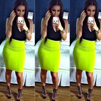skirt midi skirt neon neon skirt lime fashion blogger spring outfits summer outfits chic bodycon bodycon skirt