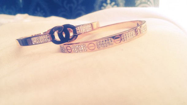 jewels chanel bracelet cartier bracelet rose gold real crystals chanel inspired fake