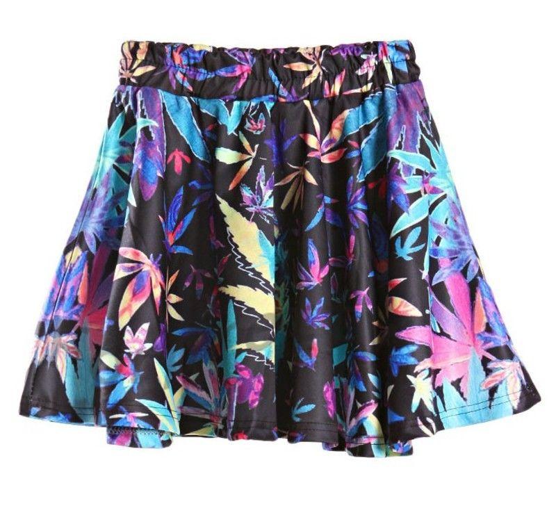 Women Punk Weed Maple Leaf Print High Waist Puff Skate Skirt | eBay