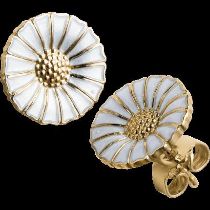 DAISY øreringe - forgyldt sterlingsølv med emalje