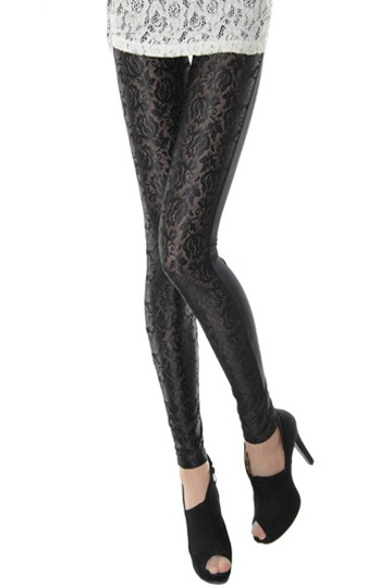 Tulip Lace Stitching Slim Fit Leggings [FBBI0090]- US$ 27.99 - PersunMall.com