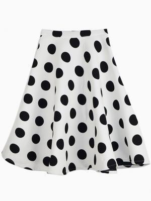 White Polka Dot Skater Skirt   Choies