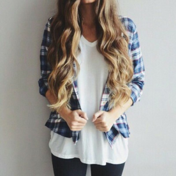 shirt button up shirt blue shirt flannel shirt white top girly girl jeans outfit idea