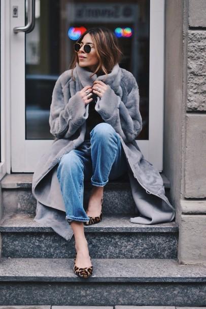 coat faux fur shearling light blue long coat grey coat