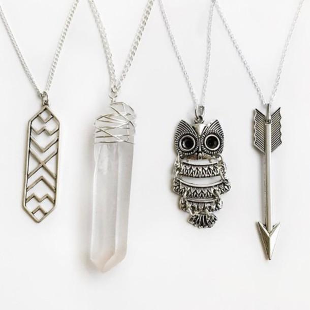 jewels silver necklace boho jewelry coat