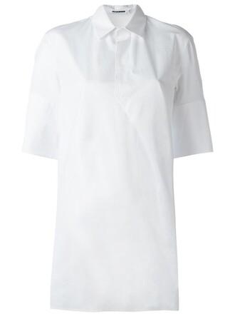 shirt tunic women white cotton top