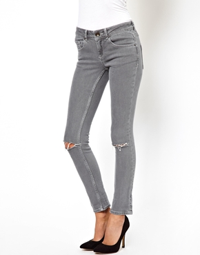ASOS | ASOS Skinny Jeans in Washed Gray with Ripped Knees at ASOS