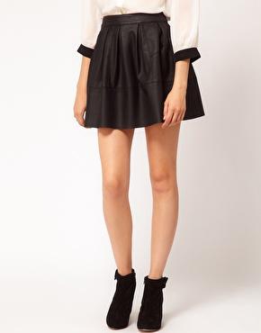 ASOS | ASOS Skater Skirt in Leather Look at ASOS