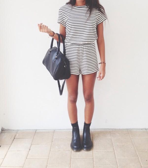 dress romper shoes black and white stripes