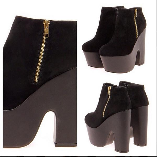 shoes boots platform shoes zip suede high heels black