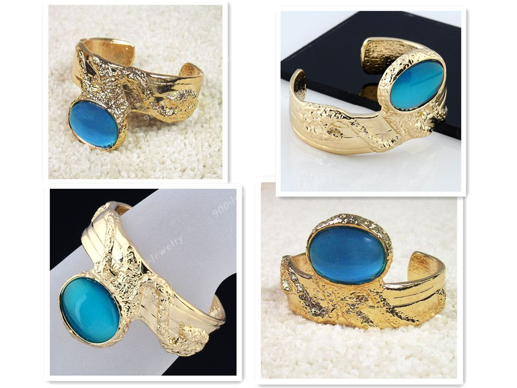Turquoise Cat's Eye Arty Chunky Cuff Bangle Oval Ring Gold Tone Gemstone Armor | eBay