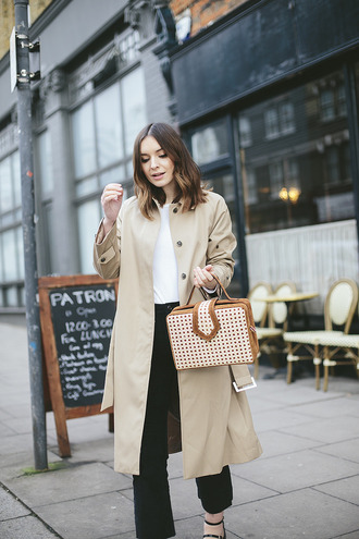 what olivia did... blogger jacket top jeans shoes bag trench coat beige coat black pants