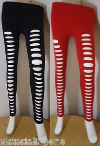 NEW FRONT RIPPED SLIT LEGGINGS SLASHED COTTON FULL ANKLE LENGTH FASHION TIGHTS | eBay