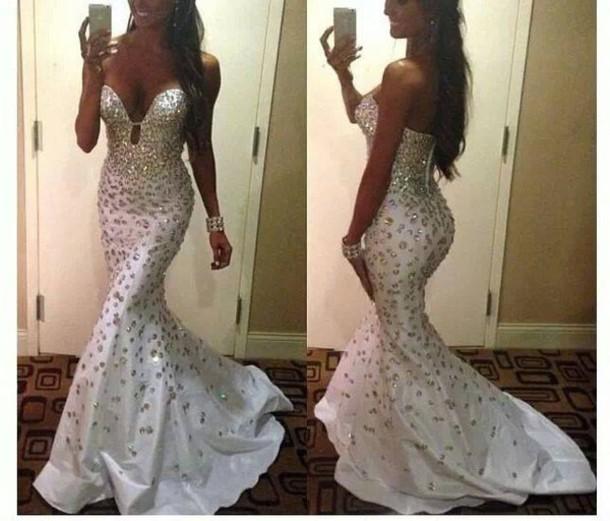 dress white prom dresses uk mermaid style evening gowns discount evening dresses online cheap unique prom dresses white sexy glitter trendy hot strapless tan rhinestones dressofgirl